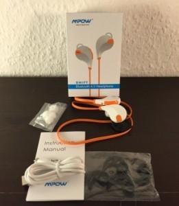 Bluetooth-Sport-Kopfhörer-Mpow-Swift-ausgepackt