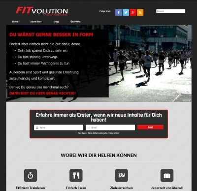 Fitvolution Homepage 2015 screenshot