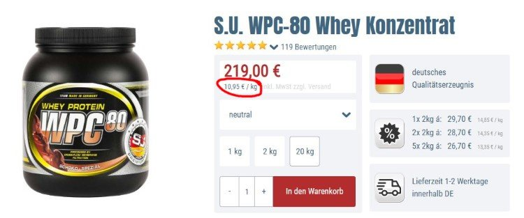 Bodybuilding-Depot WPC 80 neutral kaufen