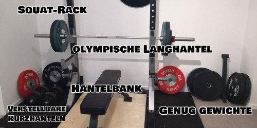 Gewichte in meinem Fitnessraum zuhause