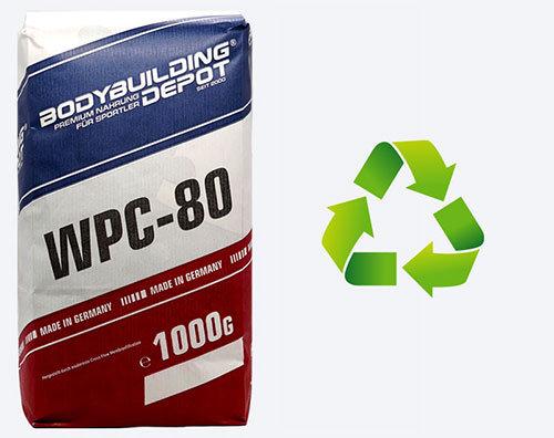 Das WPC 80 Proteinpulver von Bodybuilding-Depot in der nachhaltigen Papierverpackung